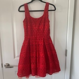 Soprano Red Lace Fit and Flare Dress
